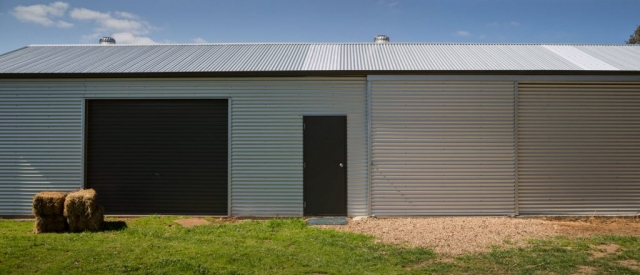 Shed with Horizontal Corrugated Cladding